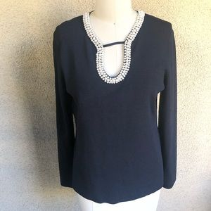 Cable & gauge | black blouse with beaded detailing